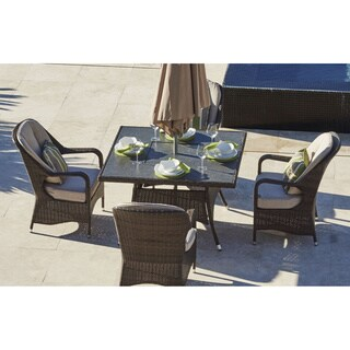 Eton Rattan 4-seat Square Outdoor Dining and Charcoal Fire Pit Combo Set