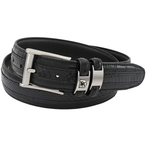 Stacy Adams 35mm Black Tri-Leather Embossed, Croc, Lizard, Snake Belt