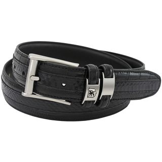 Stacy Adams 35mm Black Tri-Leather Embossed, Croc, Lizard, Snake Belt