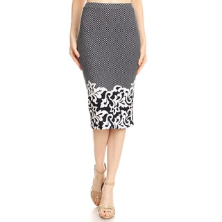 Women's Border Tapestry Black White Pencil Skirt