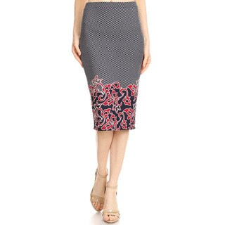 Women's Border Tapestry Grey Red Pencil Skirt
