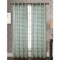 RT Designers Collection Reed Embroidered 84-Inch Grommet Curtain Panel