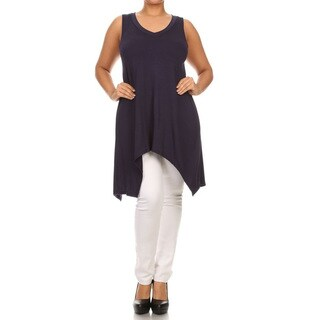 Women's Plus Size Solid V-Neck Sleeveless Top