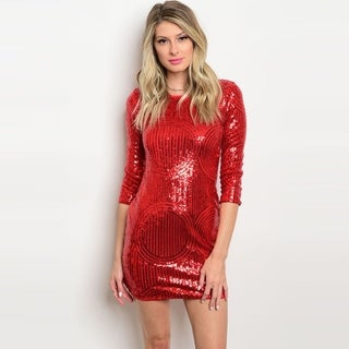 Shop The Trends Women's 3/4 Sleeve Bodycon Mini Dress With Allover Sequins Design And Round Neckline (Option: S)