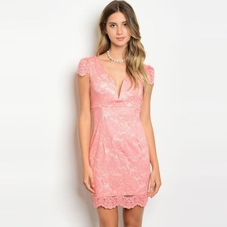Shop The Trends Women's Cap Sleeve Lace Dress With Plunging Neckline And Scalloped Hem (2 options available)