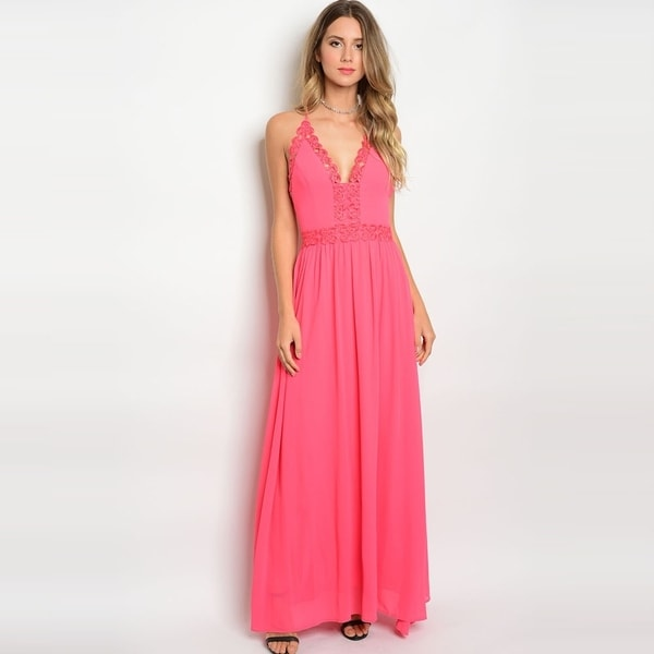 6dbcf3737be59 Shop The Trends Women's Spaghetti Strap Maxi Dress With V-Neckline And  Crochet Details