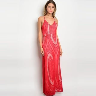 Shop The Trends Women's Spaghetti Strap Lace Gown With V-Neckline And Full Lining