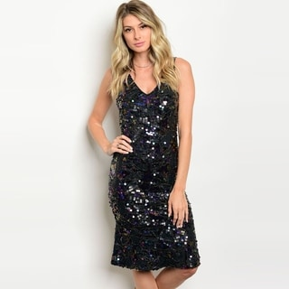 Shop The Trends Women's Sleeveless Midi Dress With Allover Sequined Design And V-Neckline