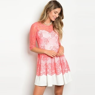 Shop The Trends Women's 3/4 Sleeve Baby Doll Dress With Sheer Lace Top And Round Neckline