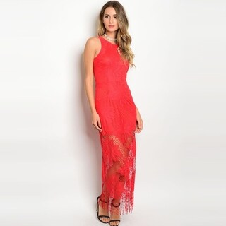 Shop The Trends Women's Sleeveless Dress With Maxi Crochet Overlay And Round Neckline