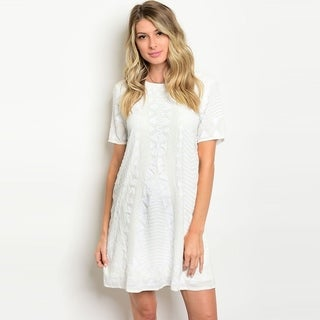 Shop The Trends Women's Short Sleeve Mini Dress With Allover Sequins Design And Round Neckline