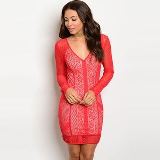 Shop The Trends Women's Sheer Long Sleeve Mini Dress With Allover Lace Design And V-Neckline