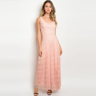 Shop The Trends Women's Sleeveless Lace Maxi Dress With Scoop Neckline And Full Lining