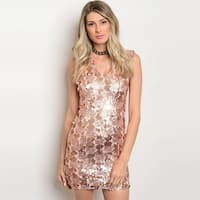 Shop The Trends Women's Sleeveless Bodycon Mini Dress With Allover Sequins Design And V-Neckline