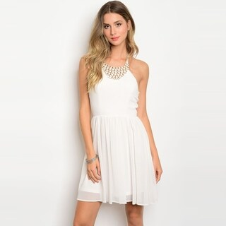 Shop The Trends Women's Sleeveless Chiffon Short Dress With Halter Embellished Neckline And Full Lining