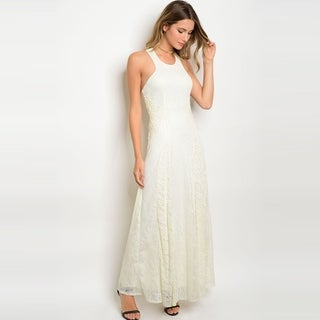 Shop The Trends Women's Sleeveless Lace Gown With Round Neckline And Crossed Strap Back