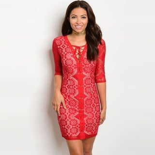 Shop The Trends Women's Sheer 3/4 Sleeve Mini Dress With Allover Lace Design And Lace Up Front (5 options available)