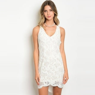 Shop The Trends Women's Sleeveless Lace Mini Dress With Lace Up Back And V-Neckline
