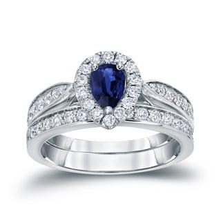 Auriya 14k Gold 1/2ct Pear-Shaped Blue Sapphire and 1/2ct TDW Diamond Bridal Ring Set (H-I, I1-I2)