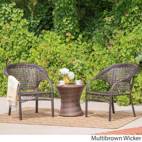 Monroe Outdoor 3-piece Round Wicker Bistro Chat Set by Christopher Knight Home