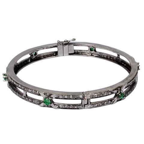 Orchid Jewelry 3 Carat Emerald & Diamond Black Rhodium Silver Bangle Bracelet