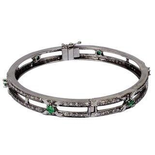 Orchid Jewelry 3 Carat Emerald & Diamond Black Rhodium Silver Bangle Bracelet