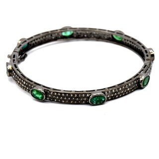 Orchid Jewelry 8.48 Carat Emerald & Diamond Black Rhodium Silver Bangle Bracelet