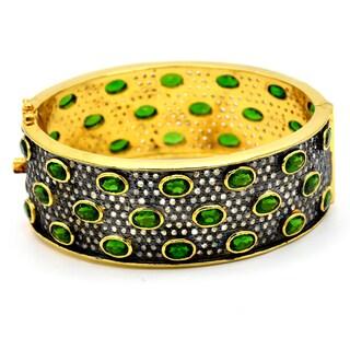 Orchid Jewelry 37.26 Carat Emerald & Diamond Two-tone Silver Bangle Bracelet