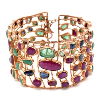 Orchid Jewelry Ruby, Emerald and Sapphire Rose Gold Over Silver Cuff Bracelet