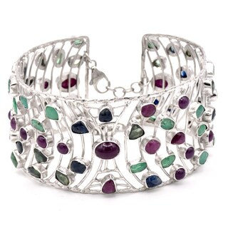 Orchid Jewelry Ruby, Emerald and Sapphire 925 Sterling Silver Cuff Bracelet