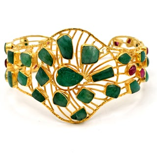 Orchid Jewelry Emerald and Tourmaline 10k Gold Over Silver Cuff Bracelet