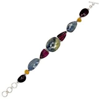 Orchid Jewelry Sapphire, Citrine & Tourmaline 925 Sterling Silver Link Bracelet