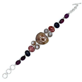 Orchid Jewelry Sapphire, Moonstone and Ruby 925 Sterling Silver Link Bracelet