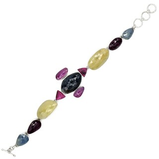 Orchid Jewelry Sapphire and Tourmaline 925 Sterling Silver Link Bracelet