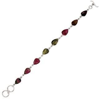 Orchid Jewelry 12.67 Carat Tourmaline 925 Sterling Silver Link Bracelet
