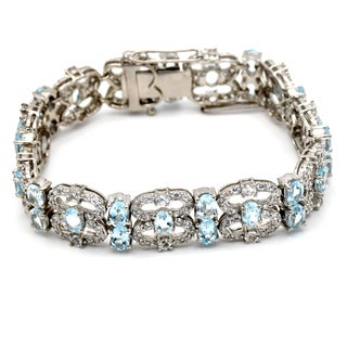 Orchid Jewelry Blue Topaz and Cubic Zirconia 925 Sterling Silver Bracelet