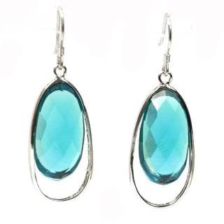 De Buman Sterling Silver 18.5ctw Blue Agate Dangle Earrings