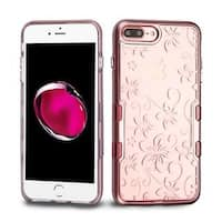 Insten Rose Gold/ Clear Hibiscus Flower Tuff Hard Snap-on Dual Layer Hybrid Case Cover For Apple iPhone 7 Plus