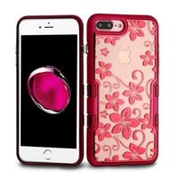 Insten Red Hibiscus Flower Tuff Hard Snap-on Dual Layer Hybrid Case Cover For Apple iPhone 7 Plus