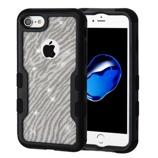 Insten Black/ Silver Zebra Tuff Hard Snap-on Dual Layer Hybrid Case Cover For Apple iPhone 7