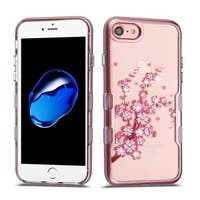 Insten Rose Gold/ Clear Spring Flowers Tuff Hard Snap-on Dual Layer Hybrid Case Cover with Diamond For Apple iPhone 7