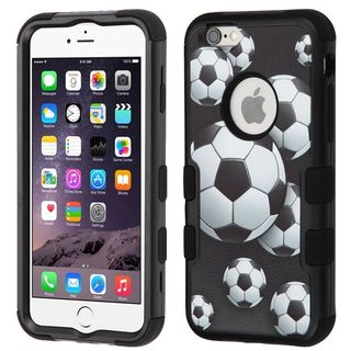 Insten Black/ White Soccer Ball Tuff Hard Snap-on Dual Layer Hybrid Case Cover For Apple iPhone 6 Plus/ 6s Plus