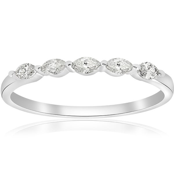 14k white gold 12 ct tdw marquise diamond wedding ring h ii1 - Marquise Diamond Wedding Ring