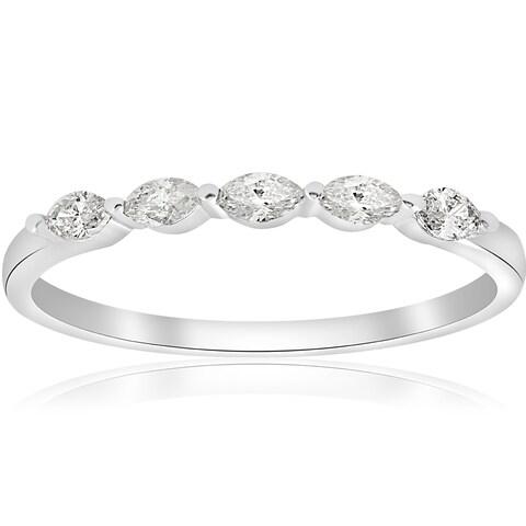 14k White Gold 1/2 ct TDW Marquise Diamond Wedding Ring (H-I,I1-I2)