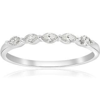 14k White Gold 1/2 ct TDW Marquise Diamond Wedding Ring (H-I,I1-I2)
