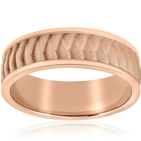 14k Rose Gold Brushed Braided Mens 8mm Comfort Fit 2mm Thick Wedding Band