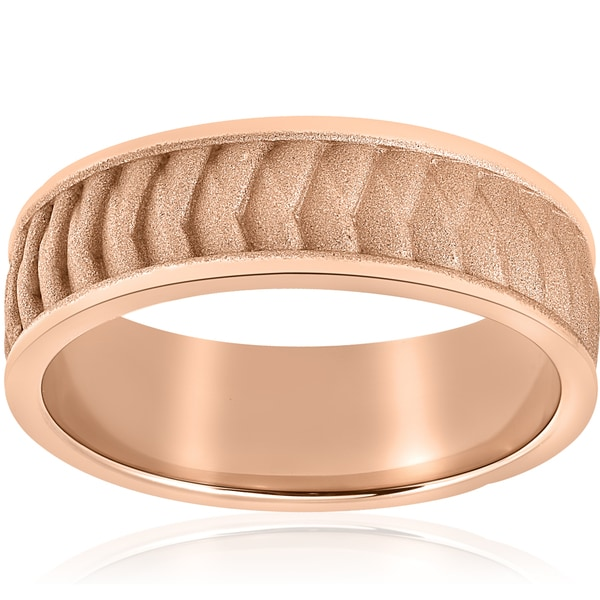 14k Rose Gold Brushed Braided Mens 8mm Comfort Fit 2mm Thick Wedding Band. Opens flyout.