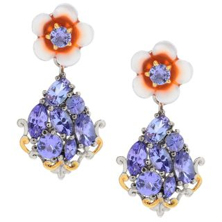 Michael Valitutti Palladium Silver Carved Mother-of-Pearl Flower & Tanzanite Drop Earrings