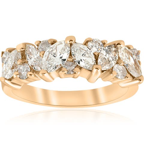 14k Yellow Gold 1 1/2 ct TDW Marquise Diamond Wedding Anniversary Ring (H-I,I1-I2)