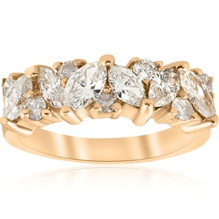 14k Yellow Gold 1 1/2 ct TDW Marquise Diamond Wedding Anniversary Ring (H-I,I1-I2)
